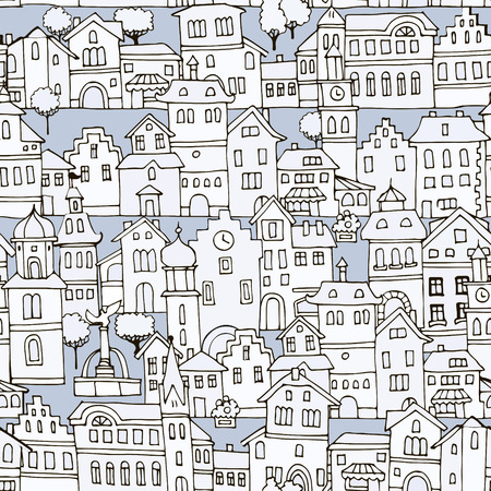 variegated: Seamless pattern with different  shape old houses.Sketch, hand drawn. Facades of variegated buildings in the traditional Dutch style.Illustration of the black and white