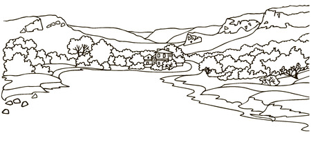 landscape architecture: View of the valley with a wide road and the manor. Line graphics