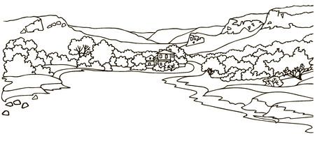 dessin noir et blanc: Vue de la vallée avec une route large et le manoir. graphiques de ligne
