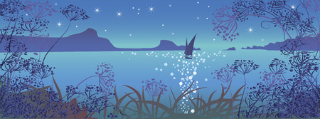Night seascape with mountains and sailboats , romantic style. View through the grass