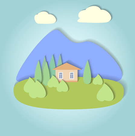 Flat design nature landscape illustration with mountaine, hills, trees and clouds Vector