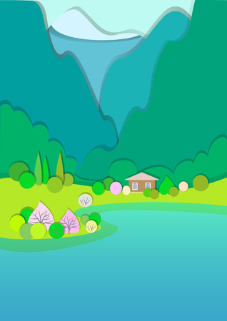 Flat design nature landscape illustration with blue and green mountaines, hills, flowering trees and clouds. Secluded cottage near the lake. Spring