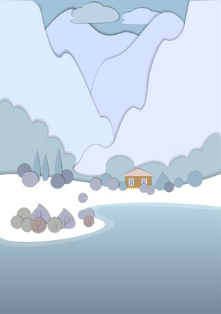 elvonult: Flat design nature landscape illustration with high snow-capped mountains. 3d illustration with smooth vector shadows, the effect of applications. View of the secluded cottage near the lake. Illusztráció