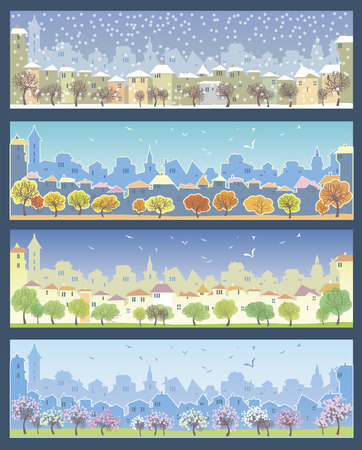 fall winter: Set of illustrations with urban landscape. Different times of the year. Fall, winter, spring and summer. Illustration