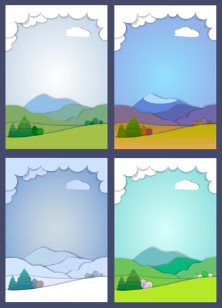 snowcapped: Flat design nature landscape illustration with high mountains, hills, trees and clouds. 3d illustration with smooth vector shadows, the effect of applications. Concept of life cycle in nature, landscape scene in four different seasons of the year.