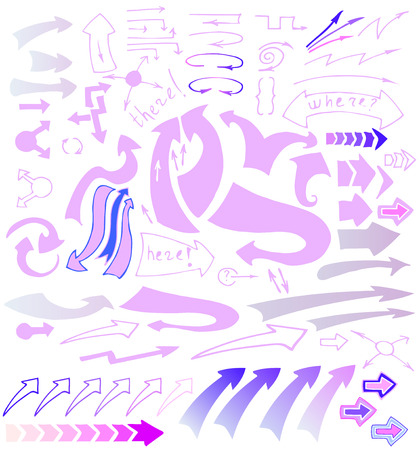 generative: Vector hand drawn sketchy arrows icons set.  Pink, purple and blue pointers isolated on white background