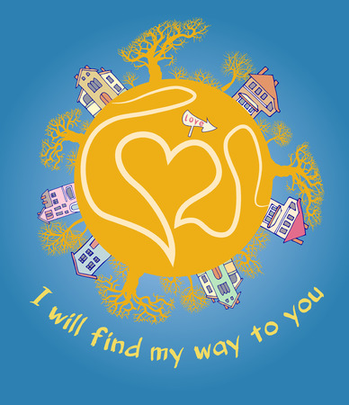 declaration: Вecorative card. Recognition of love. I will find my way to you. Declaration of love