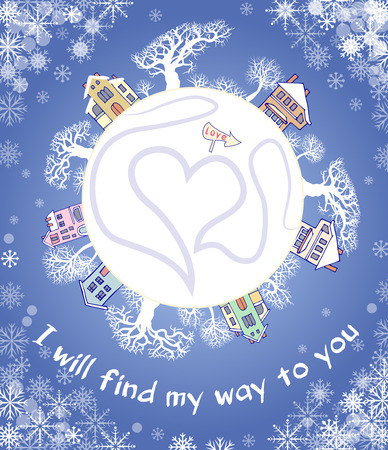 beloved: Ð'ecorative card. Recognition of love. I will find my way to you. Declaration of love Illustration