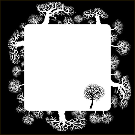 Decorative frame with floral elements. Silhouette of a forest with thick and thin trees