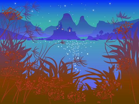 view window: Night landscape with fairy-tale castle at the lake. Illustration