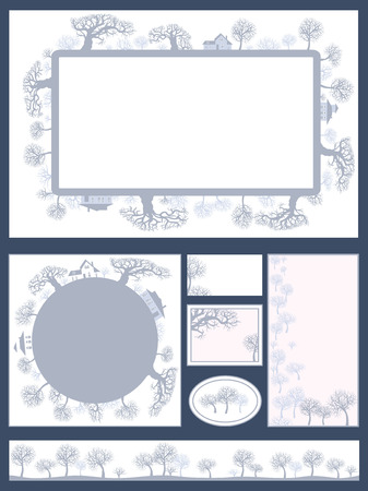 thick forest: Vector corporate identity business set design . Template card with landscape.  Decorative frame with silhouette of a forest with thick and thin trees
