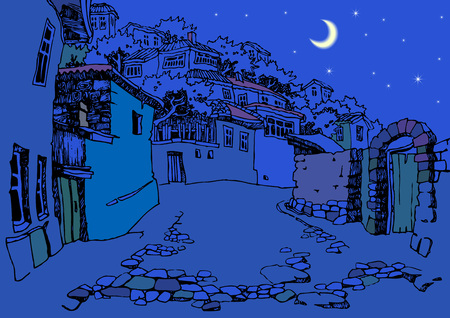 narrow street: Street of the old town at night. Sketch, hand drawn. Narrow oriental street with old houses Illustration