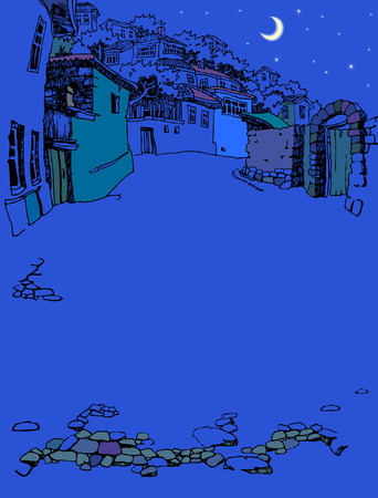 narrow: Street of the old town at night. Sketch, hand drawn. Narrow oriental street with old houses Illustration