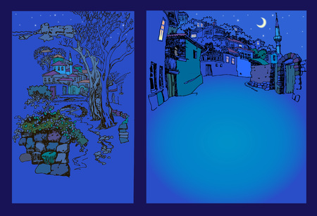 Design of the  Bakhchysarai city in the mountains. View of the oriental old town at night. Sketch, hand drawn.