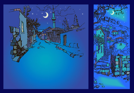 narrow street: Narrow street of the old oriental town at night. Sketch, hand drawn. City landscape with a minaret and old houses. Ancient city in the mountains. ityscape with stairs.