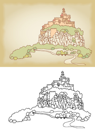 fortress: Mountain landscape with fortress on a cliff. Sketch, hand drawn with ink. Engraved retro style, effect of sepia
