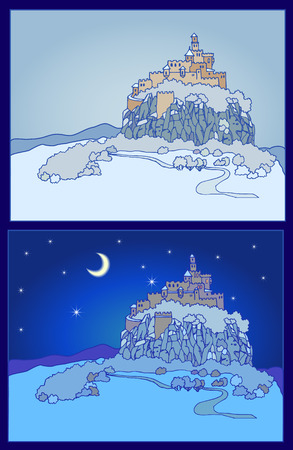 fort: Nightly background with castle silhouette. Mountain landscape with fortress on a cliff. Sketch, hand drawn Illustration