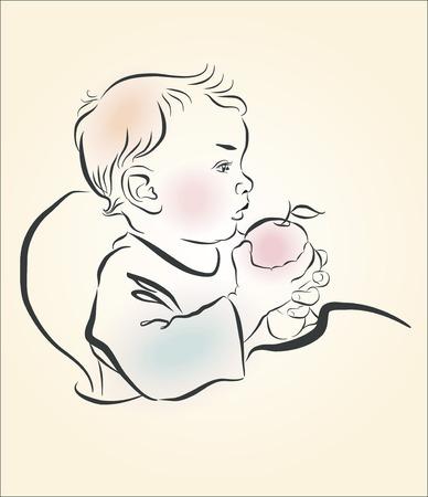 eats: Vector illustration. A child eats an apple. Sketch, hand drawn