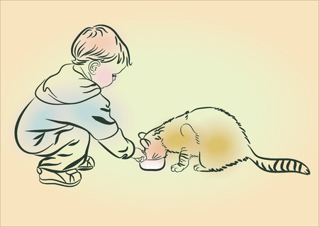 eats: The boy feeds a cat. Sketch, hand drawn.Line drawing