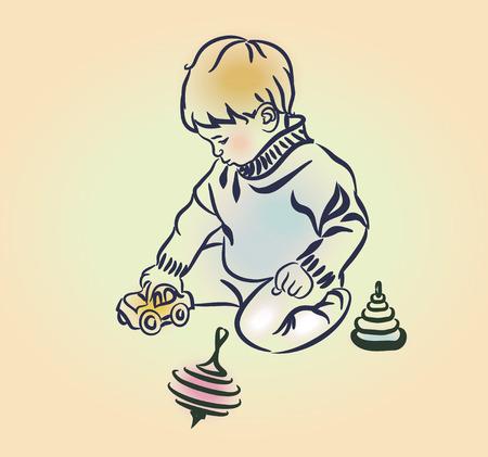 little boy: Little boy plays with toys. Sketch, hand drawn