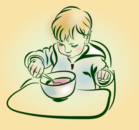 eats: The little boy eats porridge. The baby with a spoon in hand eats. Serious kid with blonde hair and round cheecks eating from plate with spoon. Sketch, hand drawn Illustration