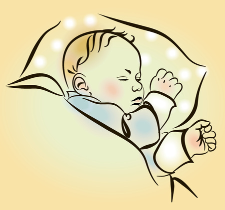 schlafendes kind: Lovely newborn sleeping in the crib. Cute sleeping child. Sketch, hand drawn.