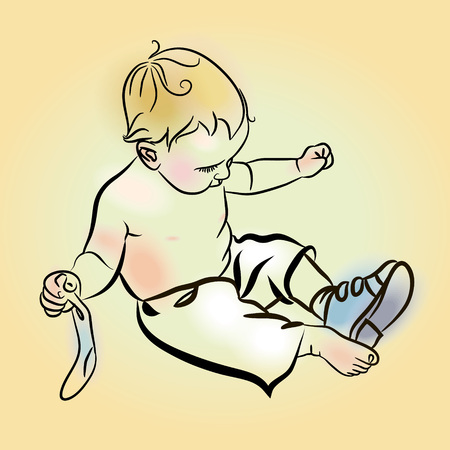 get dressed: Little Boy Put Shoes On. Adorable toddler boy trying to put his shoes on. Illustration of boy putting on shoes over yellow background.  Little boy putting his shoes on by himself.