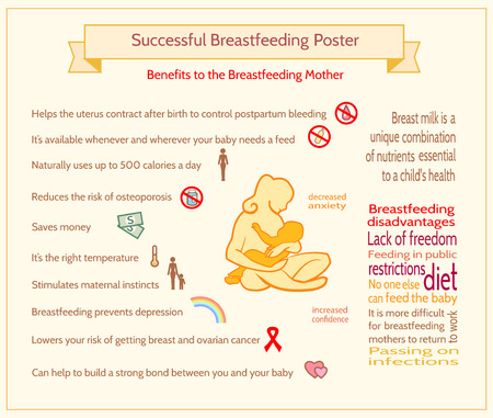 breastfeeding: Successful Breastfeeding Poster. Maternity Infographic Template. Benefits to the Breastfeeding Mother Illustration