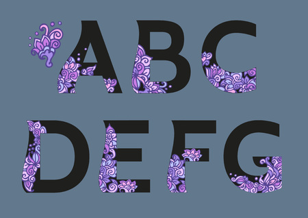 The original English language alphabet. Full flower decor alphabet. Set of ABCD uppercase alphabet letters with floral patterns in pink and black colors, design elements for typography Illustration
