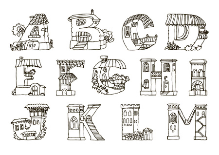 alphabetic: English language alphabet, letters in houses shape. Hand drawn font with retro style. Handmade alphabetic house set, illustrations for education font. Black and white line drawing.