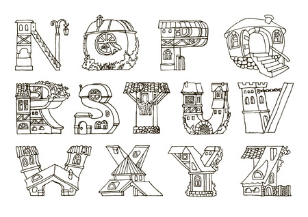styled: English language alphabet, letters in houses shape. Hand drawn font with retro style. Handmade alphabetic house set, illustrations for education font. Black and white line drawing.