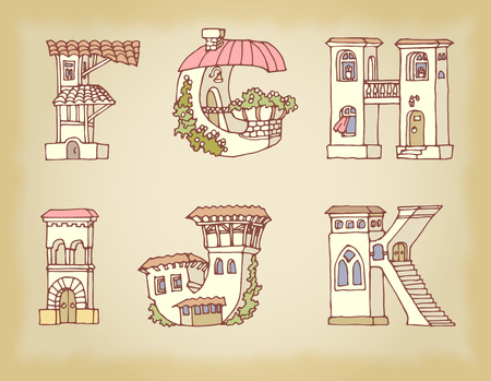 alphabetic: English language alphabet, letters in houses shape. Hand drawn font with retro style. Handmade alphabetic house set, illustrations for education font.