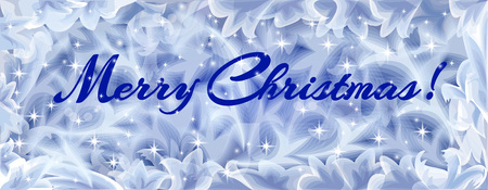 frozen glass: Merry Christmas Greeting card, the view through the frozen window with sparkle star.Merry Christmas holiday background with inscription,ice pattern on glass and shining stars