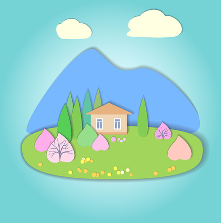 pink hills: Flat design nature landscape illustration with mountains, hills, trees and clouds.  Illustration with smooth vector shadows. Effect of application. Illustration