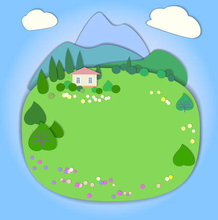 pink hills: Flat design nature landscape illustration with mountains, hills, trees and clouds.  Illustration with smooth vector shadows. Effect of application.Spring