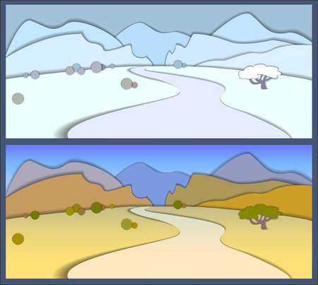 desert road: Concept Flat Landscape Background Template Vector Illustration. Desert Road. Mountain landscape in winter and autumn