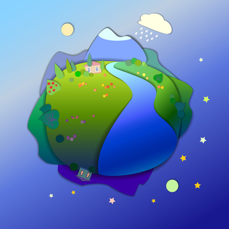 groundwater: Concept of life cycle in nature, alternation of day and night. View of the planet, day and night time.v