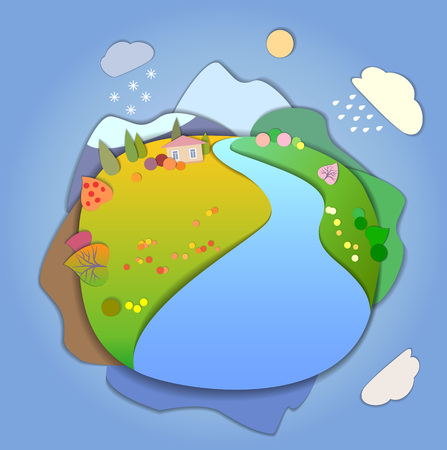 evaporation: Concept of life cycle in nature, landscape scene in four different seasons of the year. Flat Landscape Template Illustration with smooth vector shadows. Paper cut style. The effect of applications.