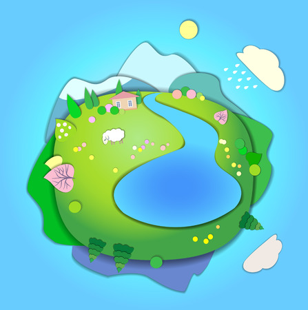 changing seasons: Concept Flat Landscape Template Illustration with smooth vector shadows. Paper cut style. The effect of applications. Concept of life cycle in nature, landscape scene in four different seasons of the year. Spring time Illustration