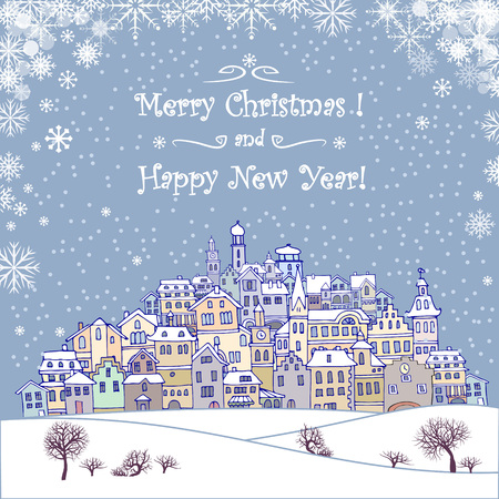 night before christmas: Merry Christmas and Happy New Year holiday background with inscription, urban landscape and snowfall.Merry Christmas greeting card with a small old town, trees and snowflakes.Seasons greetings with winter town under the snow and text Merry Christmas