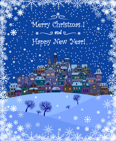 snow landscape: Merry Christmas and Happy New Year holiday background with inscription,urban landscape and snowfall.Merry Christmas greeting card with a small old town,trees and snowflakes.Seasons greetings with winter town under the snow and text Merry Christmas