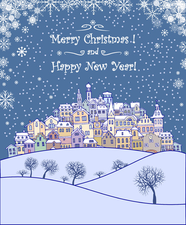 merry mood: Merry Christmas and Happy New Year holiday background with inscription,urban landscape and snowfall.Merry Christmas greeting card with a small old town,trees and snowflakes.Seasons greetings with winter town under the snow and text Merry Christmas