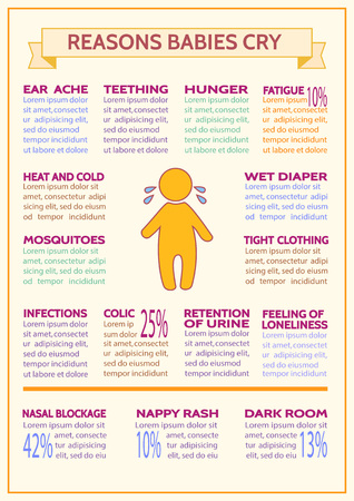 cry for help: Detailed vector baby child infographic. Presentation template reasons babies cry. Design is easy to edit.Why do babies cry?