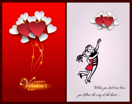 fly up: Inspirational quote about life and love.When you feel true love,you follow the way of the heart.Happy Valentines day card.Couple Flying with balloon shaped heart.Heart Balloons on red Background Illustration