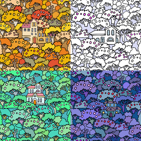 shrubs: Vector cartoon trees and shrubs seamless pattern background with floral elements.Can be used for wallpaper,textile design,cover,wrapping paper,banner,card.Hand drawn sketchy trees,bushes and houses