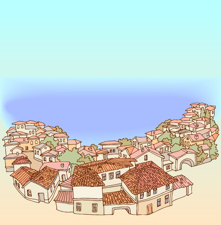 picturesque: Top View of a small old town by the sea.Street eastern old city.Sketch, hand drawn with ink.Panorama of picturesque small town with tiled roofs