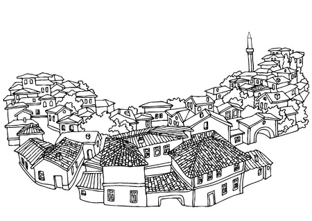 black and white image drawing: Top view on the old city. Street eastern city.Sketch, hand drawn with ink.Landscape with a minaret. Illustration of the black and white design of the old city.