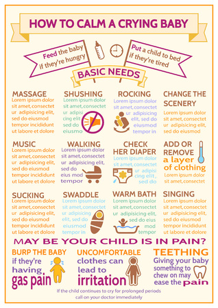 child care: Detailed vector baby child infographic. Presentation template How to calm a crying baby. Design is easy to edit. Maternity Infographic Template. Information for parents