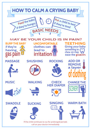 colic: Detailed vector baby child infographic. Presentation template How to calm a crying baby. Design is easy to edit. Maternity Infographic Template. Information for parents