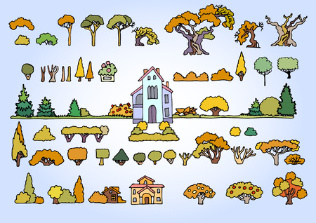 pine apple: Landscape elements vector set.Hand drawn isolated sketchy trees, flowers, bushes and houses.Colors doodle set of cartoon houses and trees.Tree and house illustration, countryside,summer,autumn